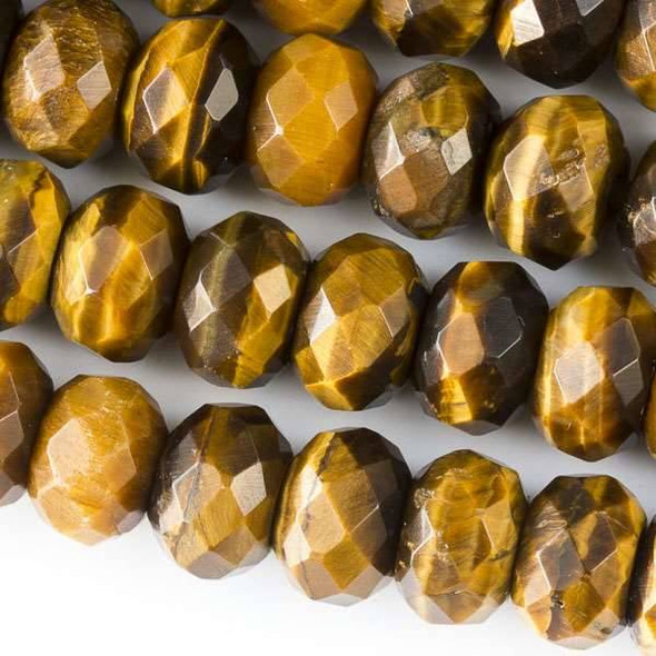 Faceted Large Hole Yellow Tigereye 8x12mm Rondelle with a 2.5mm Drilled Hole - approx. 8 inch strand