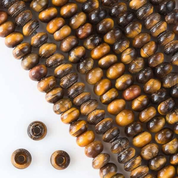 Large Hole Yellow Tigereye 5x8mm Rondelle with 2.5mm Drilled Hole - approx. 8 inch strand