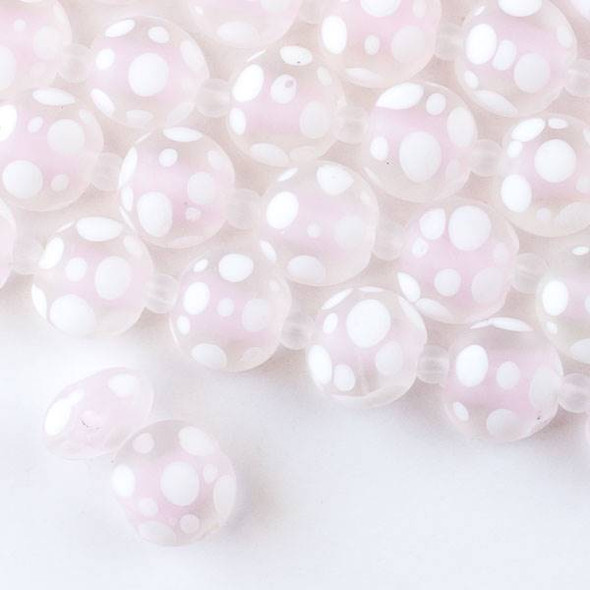 Large Hole Handmade Lampwork Glass 14mm Matte Coin Beads with a Light Pink Core, a 2mm Hole, and White Bubbles - approx. 8 inch strand