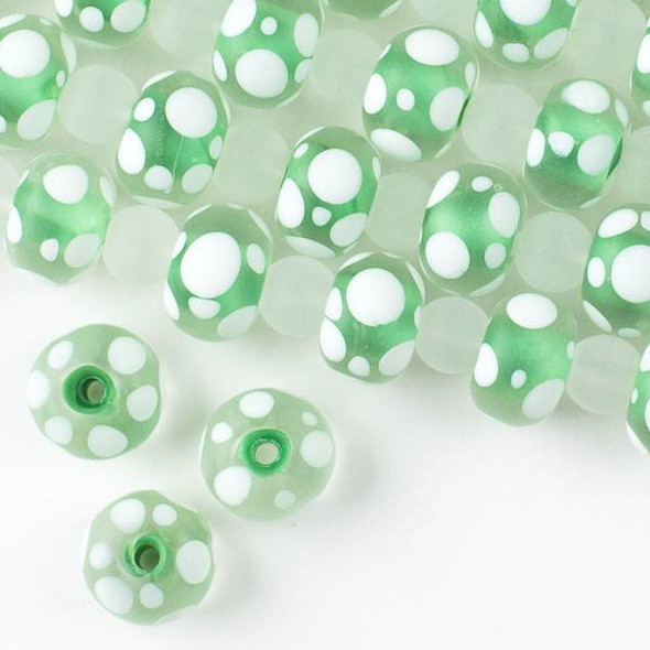 Large Hole Handmade Lampwork Glass 10x14mm Matte Rondelle Beads with a Light Green Core, a 2mm Hole, and White Bubbles - approx. 8 inch strand