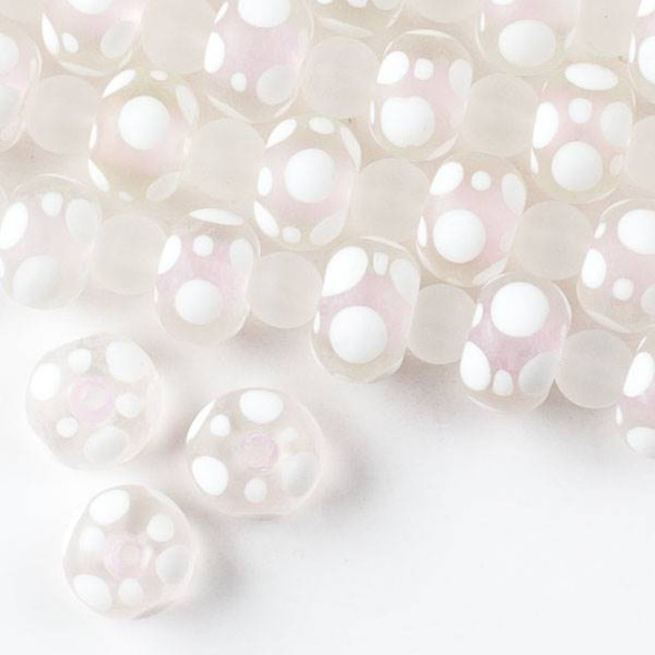 Large Hole Handmade Lampwork Glass 10x14mm Matte Rondelle Beads with a Light Pink Core, a 2mm Hole, and White Bubbles - approx. 8 inch strand