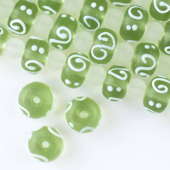 Large Hole Handmade Lampwork Glass 10x14mm Matte Light Green Rondelle Beads with a 2mm Hole and White Swirls and Dots - approx. 8 inch strand