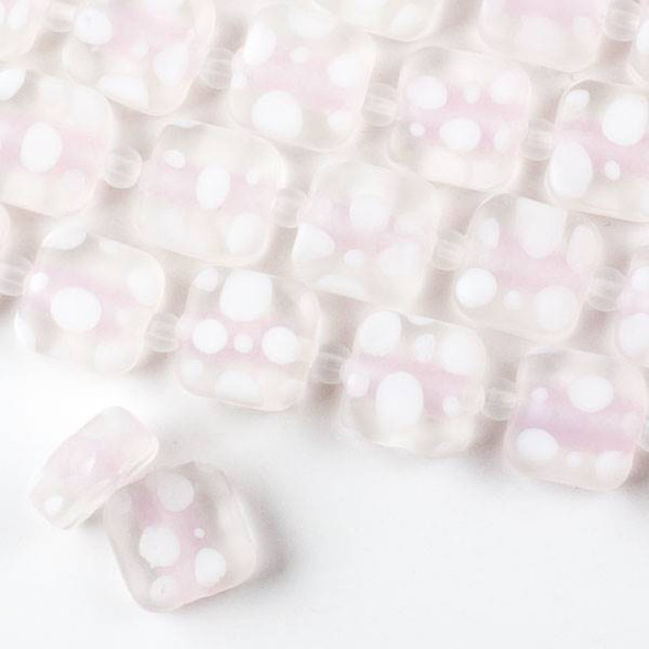 Large Hole Handmade Lampwork Glass 14mm Matte Square Beads with a Light Pink Core, a 2mm Hole, and White Bubbles  - approx. 8 inch strand