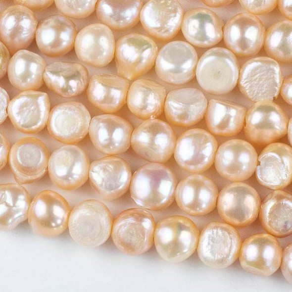 Large Hole Fresh Water Pearl 10-11mm Peach Nugget Beads - approx. 8 inch strand
