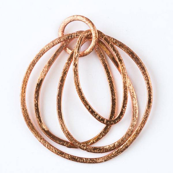 12mm Copper Hammered Hoop Link with 29mm Marquis Link, 2- 24x35mm Teardrop Links, and 40mm Hoop Link - 2 per bag