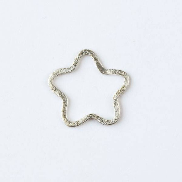 22mm Silver over Copper Hammered Star Links - 2 per bag