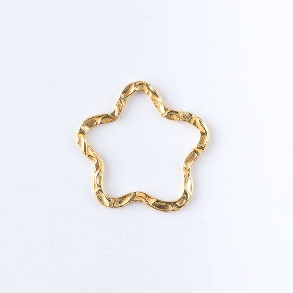 22mm Gold over Copper Textured Star Links - 2 per bag