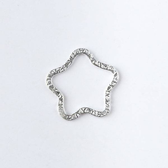 22mm Silver over Copper Textured Star Links - 2 per bag