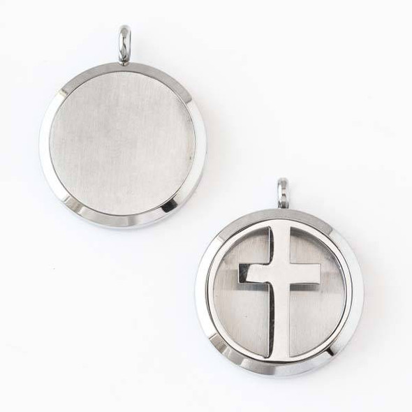 Silver Stainless Steel 30x36mm Locket/Oil Diffuser Pendant with a Cross - 1 per bag