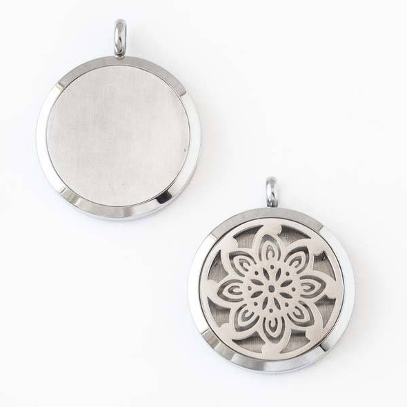 Silver Stainless Steel 30x36mm Locket/Oil Diffuser Pendant with a Flower - 1 per bag