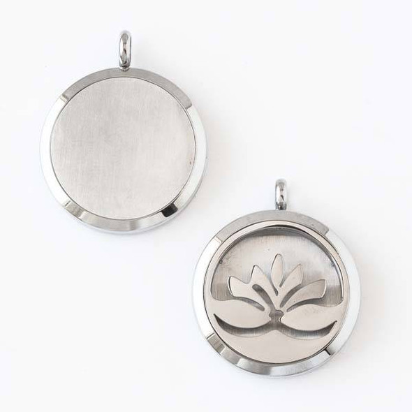 Silver Stainless Steel 30x36mm Locket/Oil Diffuser Pendant with a Lotus - 1 per bag