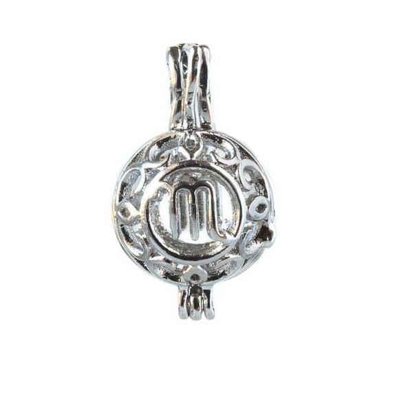 Silver 12x20mm Small Round Zodiac Prayer Box/Oil Diffuser Pendant with Virgo Pattern - #A097