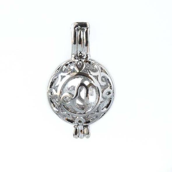 Silver 12x20mm Small Round Zodiac Prayer Box/Oil Diffuser Pendant with Capricorn Pattern - #A098