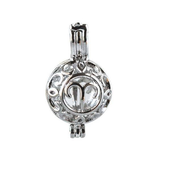 Silver 12x20mm Small Round Zodiac Prayer Box/Oil Diffuser Pendant with Aries Pattern - #A099