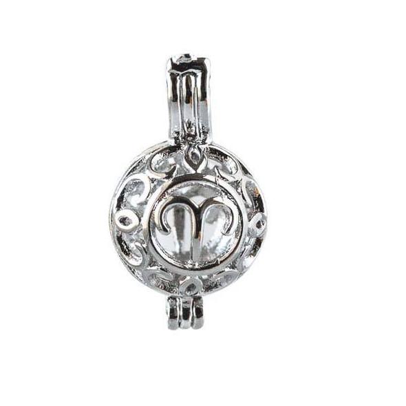 Silver 12x20mm Small Round Zodiac Prayer Box/Oil Diffuser Pendant with Aries Pattern - #A099