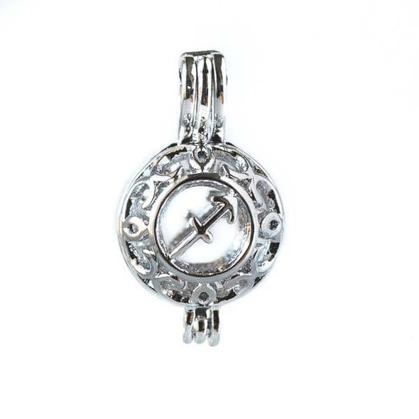Silver 12x20mm Small Round Zodiac Prayer Box/Oil Diffuser Pendant with Sagittarius Pattern - #A100