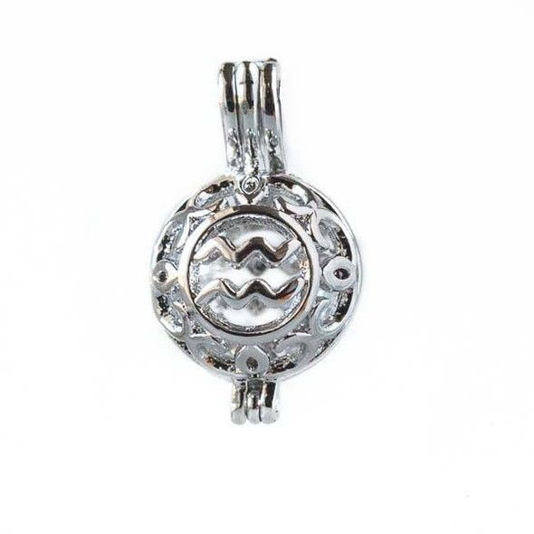 Silver 12x20mm Small Round Zodiac Prayer Box/Oil Diffuser Pendant with Aquarius Pattern - #A101
