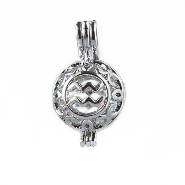 Silver 12x20mm Small Round Zodiac Prayer Box/Oil Diffuser Pendant with Aquarius Pattern - #A101