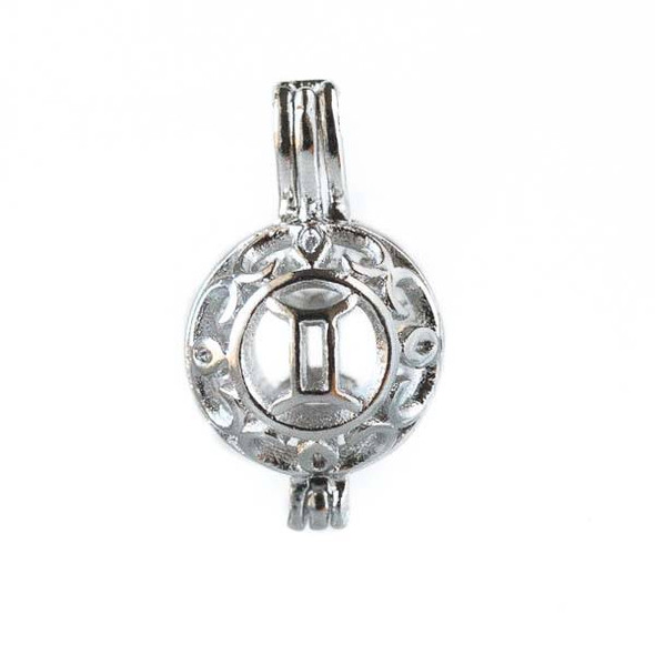 Silver 12x20mm Small Round Zodiac Prayer Box/Oil Diffuser Pendant with Gemini Pattern - #A102