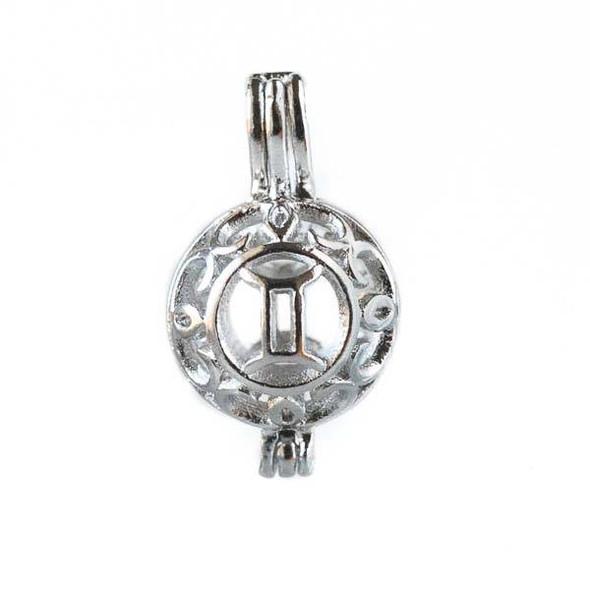 Silver 12x20mm Small Round Zodiac Prayer Box/Oil Diffuser Pendant with Gemini Pattern - #A102