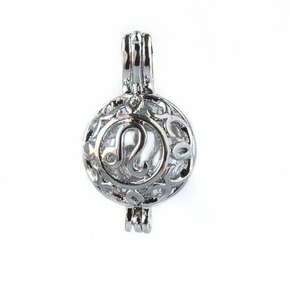 Silver 12x20mm Small Round Zodiac Prayer Box/Oil Diffuser Pendant with Leo Pattern - #A103