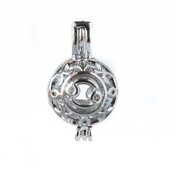 Silver 12x20mm Small Round Zodiac Prayer Box/Oil Diffuser Pendant with Cancer Pattern - #A104