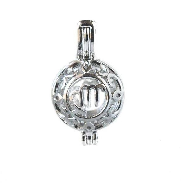Silver 12x20mm Small Round Zodiac Prayer Box/Oil Diffuser Pendant with Scorpio Pattern - #A107