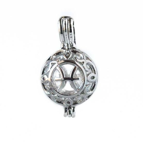 Silver 12x20mm Small Round Zodiac Prayer Box/Oil Diffuser Pendant with Pisces Pattern - #A108