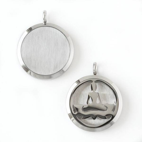 Silver Stainless Steel 30x36mm Locket/Oil Diffuser Pendant with a Yoga Lotus Pose - 1 per bag, #001