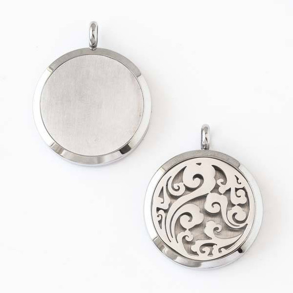 Silver Stainless Steel 30x36mm Locket/Oil Diffuser Pendant with a Swirled - 1 per bag, #006