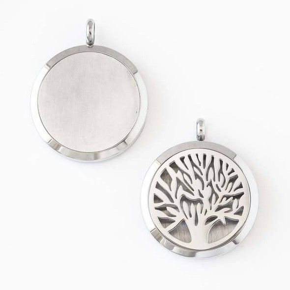 Silver Stainless Steel 30x36mm Locket/Oil Diffuser Pendant with a Tree - 1 per bag, #008