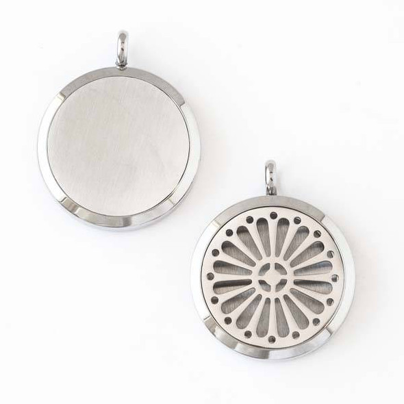 Silver Stainless Steel 30x36mm Locket/Oil Diffuser Pendant with a Daisy Flower - 1 per bag, #011