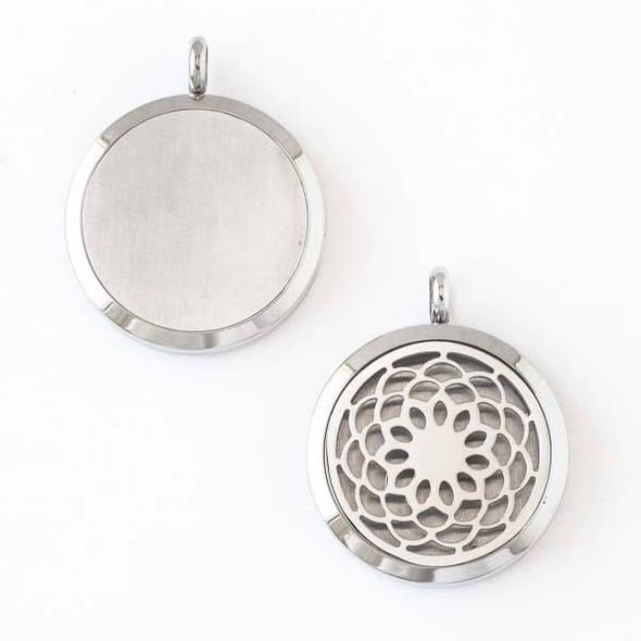 Silver Stainless Steel 30x36mm Locket/Oil Diffuser Pendant with a Zinnia Flower - 1 per bag, #012