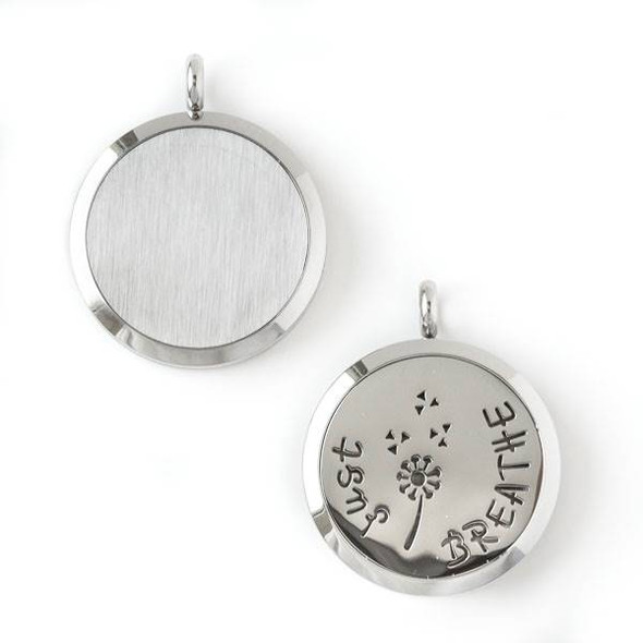 """Silver Stainless Steel 30x36mm Locket/Oil Diffuser Pendant with a Dandelion and """"Just Breathe"""" - 1 per bag, #015"""