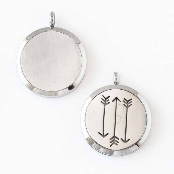 Silver Stainless Steel 30x36mm Locket/Oil Diffuser Pendant with Three Arrows - 1 per bag, #033