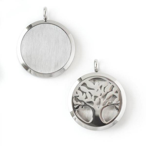 Silver Stainless Steel 30x36mm Locket/Oil Diffuser Pendant with a Tree - 1 per bag, #037