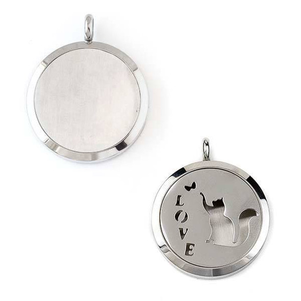 "Silver Stainless Steel 30x36mm Locket/Oil Diffuser Pendant with ""Love"" and a Cat - 1 per bag, #051"