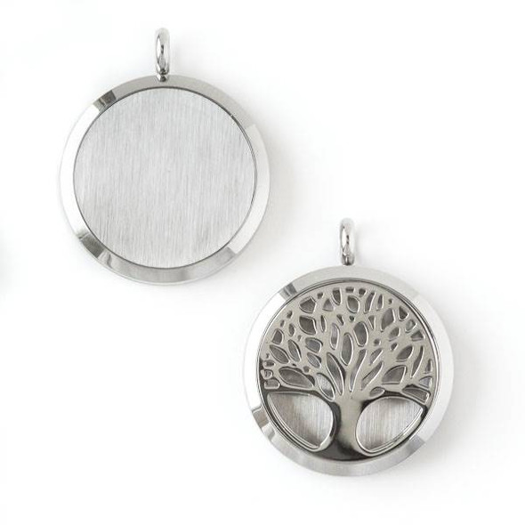 Silver Stainless Steel 30x36mm Locket/Oil Diffuser Pendant with a Tree - 1 per bag, #060