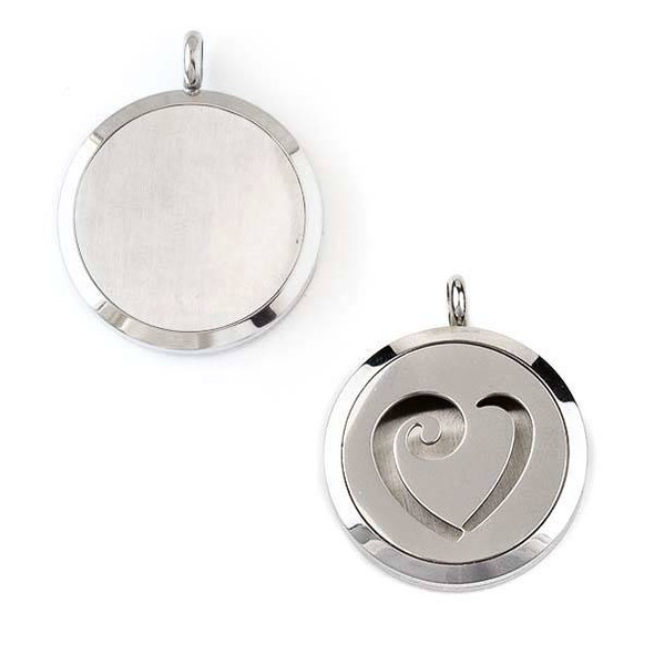 Silver Stainless Steel 30x36mm Locket/Oil Diffuser Pendant with a Swirled Heart - 1 per bag, #063