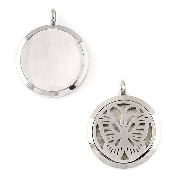 Silver Stainless Steel 30x36mm Locket/Oil Diffuser Pendant with a Swallowtail Butterfly - 1 per bag, #066