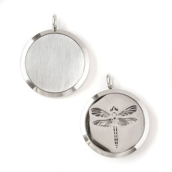 Silver Stainless Steel 30x36mm Locket/Oil Diffuser Pendant with a Dragonfly - 1 per bag, #071