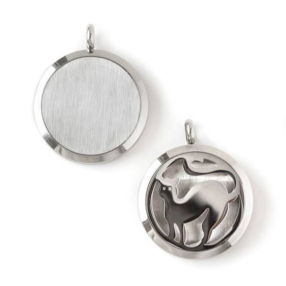 Silver Stainless Steel 30x36mm Locket/Oil Diffuser Pendant with a Cat - 1 per bag, #072