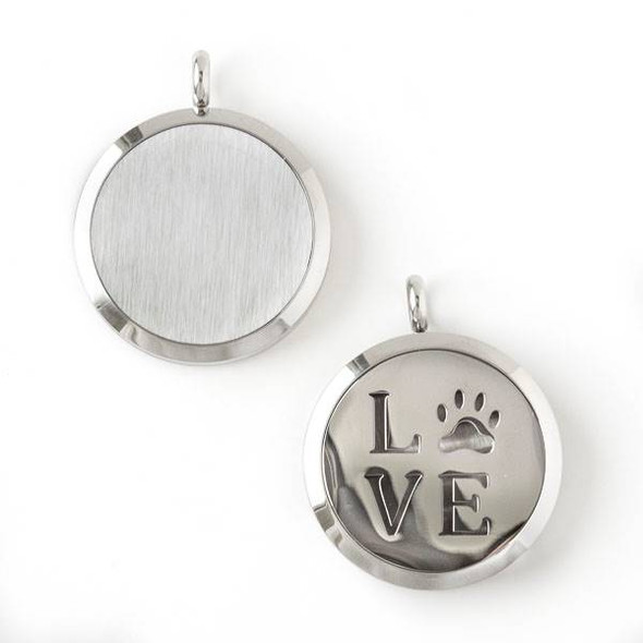 """Silver Stainless Steel 30x36mm Locket/Oil Diffuser Pendant with """"Love"""" and a Paw Print - 1 per bag, #076"""