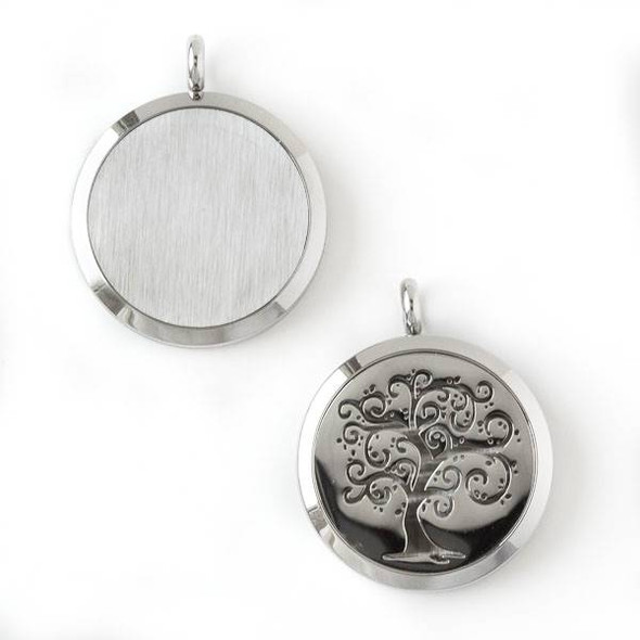 Silver Stainless Steel 30x36mm Locket/Oil Diffuser Pendant with a Swirly Tree - 1 per bag, #090