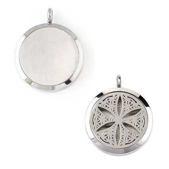 Silver Stainless Steel 30x36mm Locket/Oil Diffuser Pendant with a Sand Dollar Pattern - 1 per bag, #093