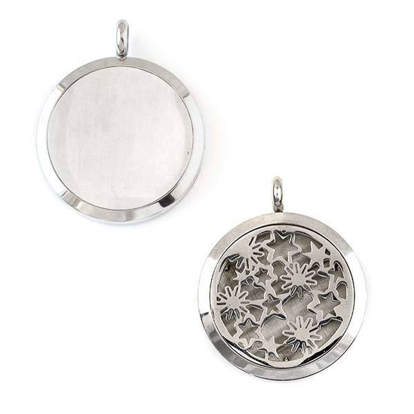 Silver Stainless Steel 30x36mm Locket/Oil Diffuser Pendant with Stars and Flowers - 1 per bag, #095