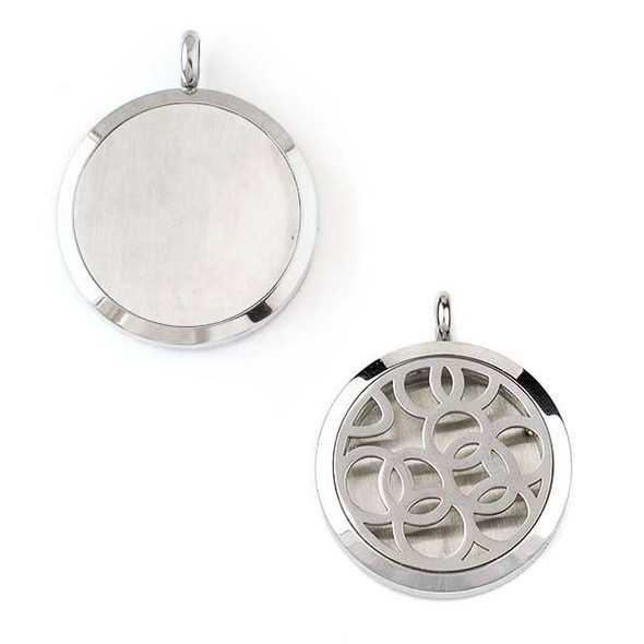 Silver Stainless Steel 30x36mm Locket/Oil Diffuser Pendant with Cut Out Overlapping Circles - 1 per bag, #096