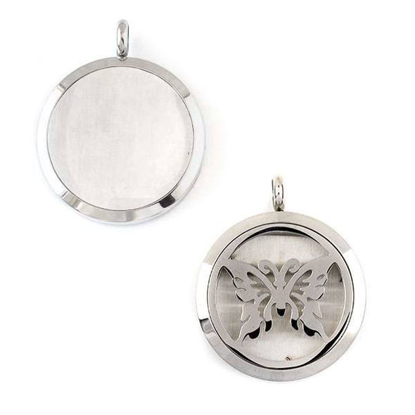 Silver Stainless Steel 30x36mm Locket/Oil Diffuser Pendant with a Monarch Butterfly - 1 per bag, #100