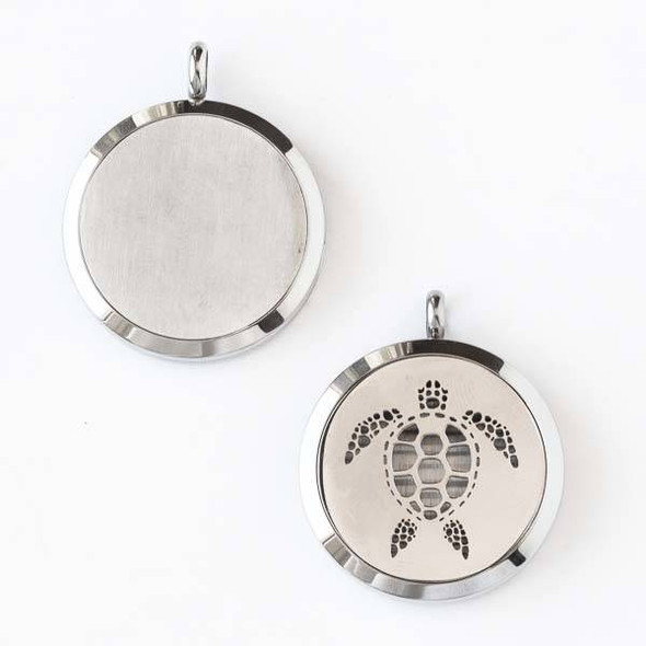 Silver Stainless Steel 30x36mm Locket/Oil Diffuser Pendant with a Sea Turtle - 1 per bag, #119