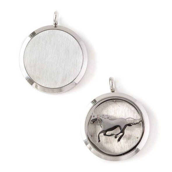 Silver Stainless Steel 30x36mm Locket/Oil Diffuser Pendant with a Horse - 1 per bag, #123